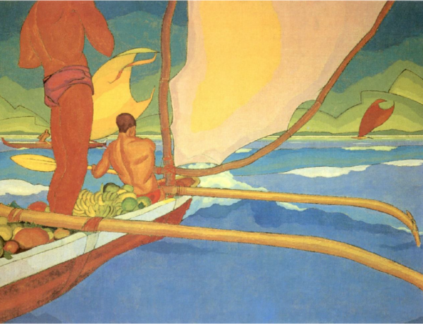 Arman Manookian Men in an Outrigger Canoe Headed for Shore